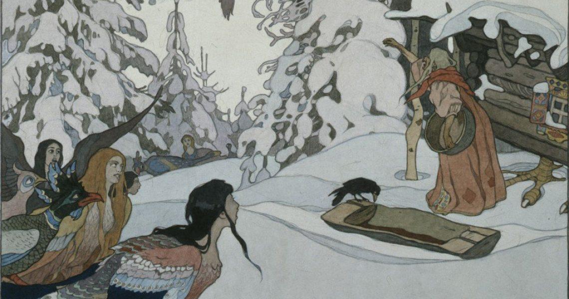 Baba_Yaga_and_maiden-birds_by_I.Bilibin_(1902)