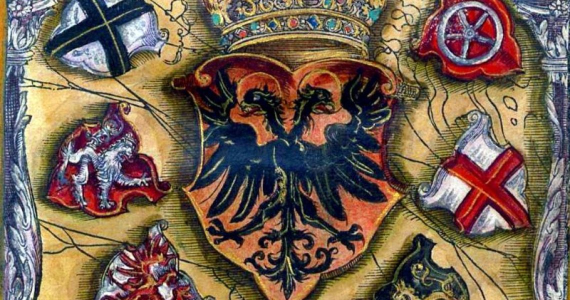 The Imperial coat of arms of the Holy Roman Emperor, surrounded by the coats of arms of the seven Electors. Clockwise from top right: the Archbishopric of Mainz, the Archbishopric of Trier, the County Palatine of the Rhine, the Duchy of Saxony, the Margraviate of Brandenburg, the Kingdom of Bohemia, and the Archbishopric of Cologne. This image is from a roll of arms printed in Frankfurt in 1545.