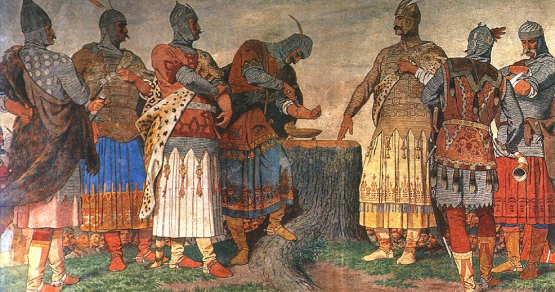 The chiefs of the seven tribes seal their oath in blood. This is often held to be the first instance of a Hungarian constitution, albeit an unwritten one. Székely, 1896-97.