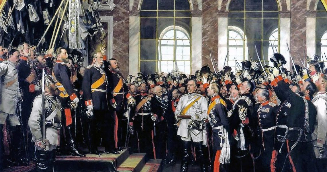 The German Empire is proclaimed at the palace of Versailles in 1871. Werner, 1885.